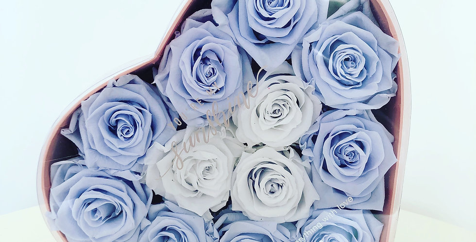 Dozen Blue&White preserved roses