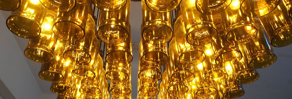 Beer Bottle Chandelier - Pendant LIght fixture Made from Beer - Wine Bottles