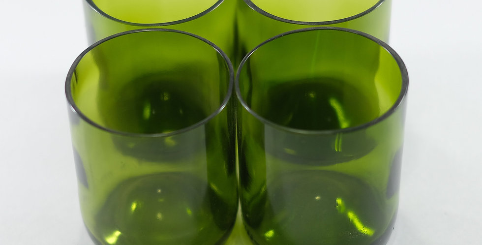 GREEN WINE BOTTLE GLASSES -10 OUNCE - 300 ML