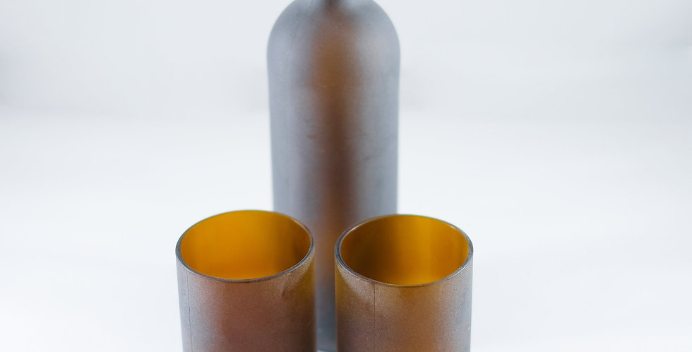 FROSTED AMBER BOTTLE WATER FLASK - CARAFE SET