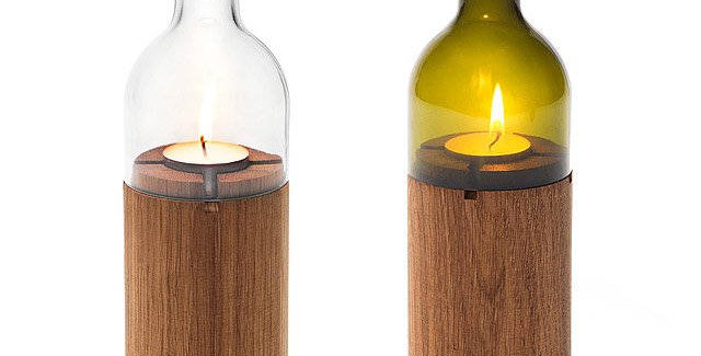 Wine bottle tea light candle with woden stand