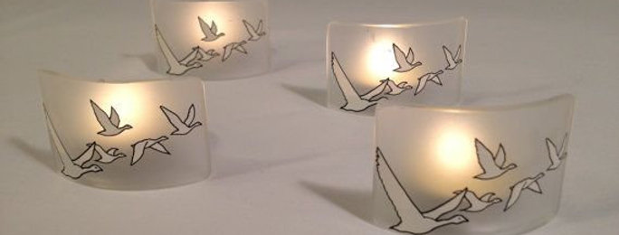 GREY GOOSE LOVERS Sale Tea Light Candle holder set made from Grey Goose bottle