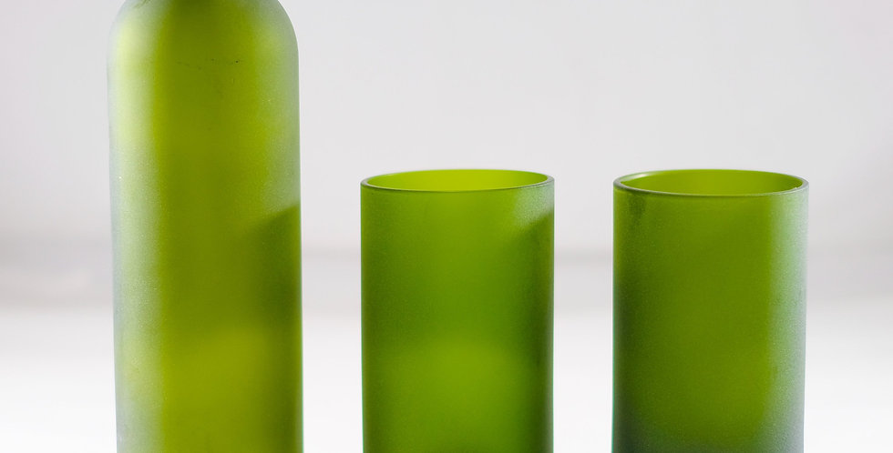 FROSTED GREEN WINE BOTTLE WATER FLASK - CARAFE SET