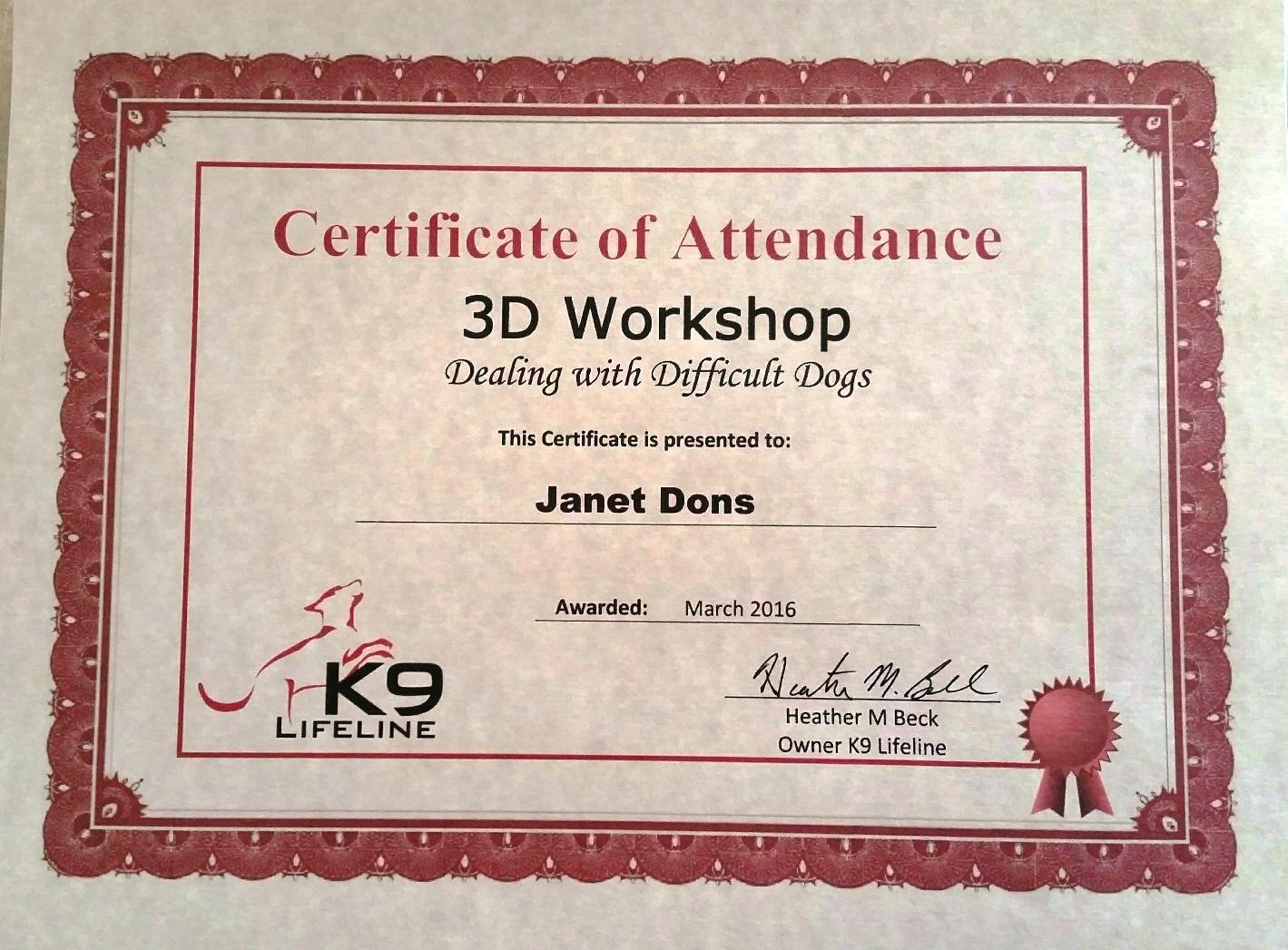janet 3d certificate