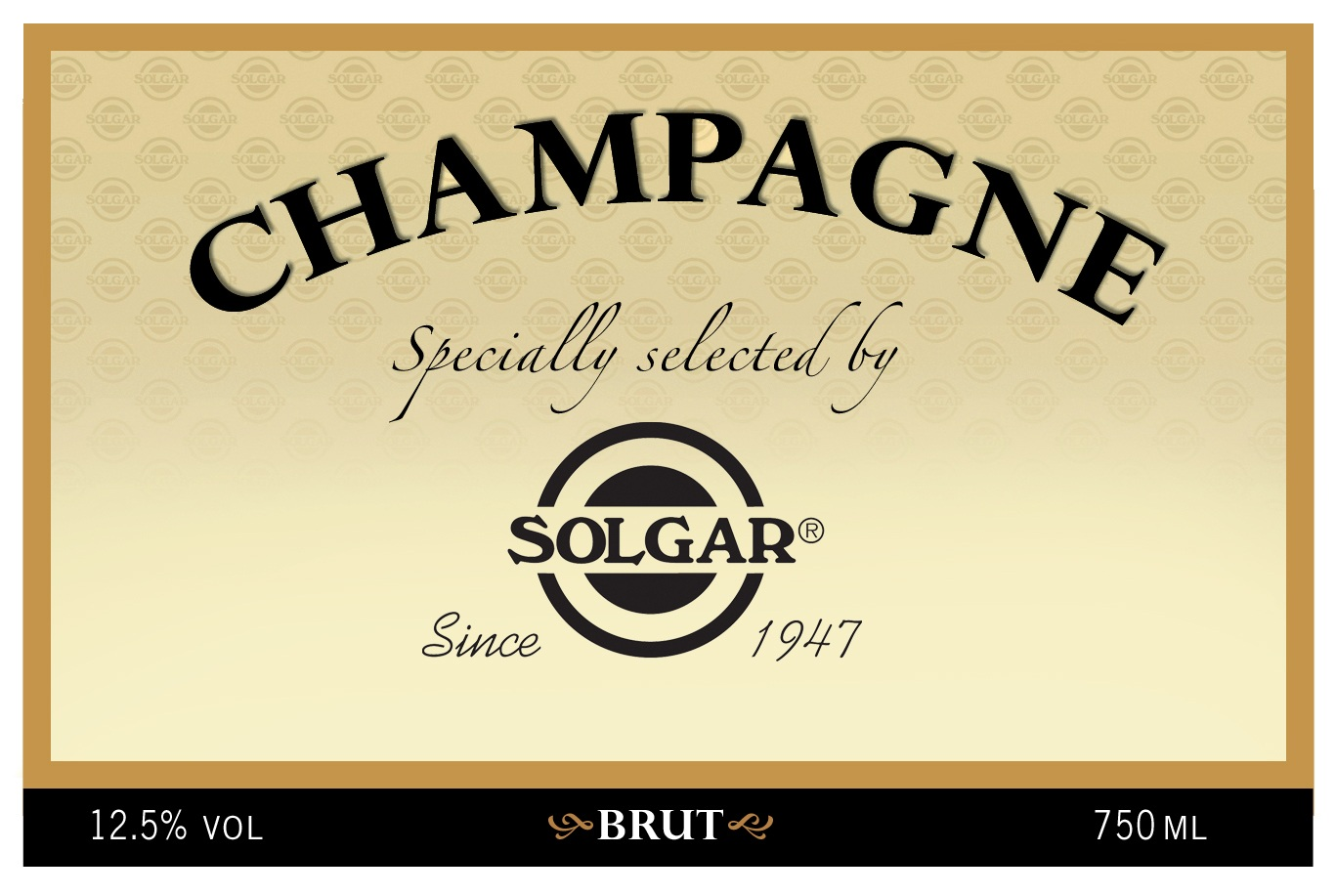 Solgar Branded Champagne Label