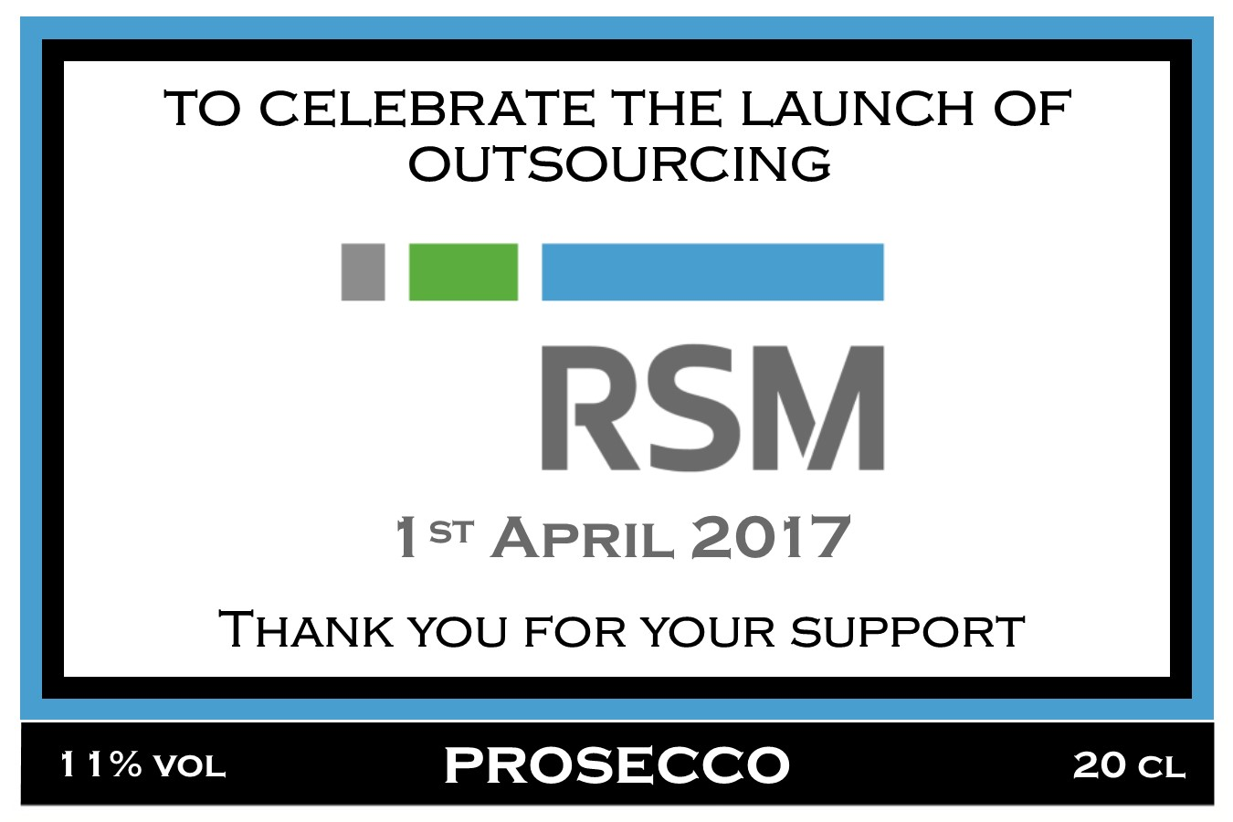 RSM Launch Prosecco Label