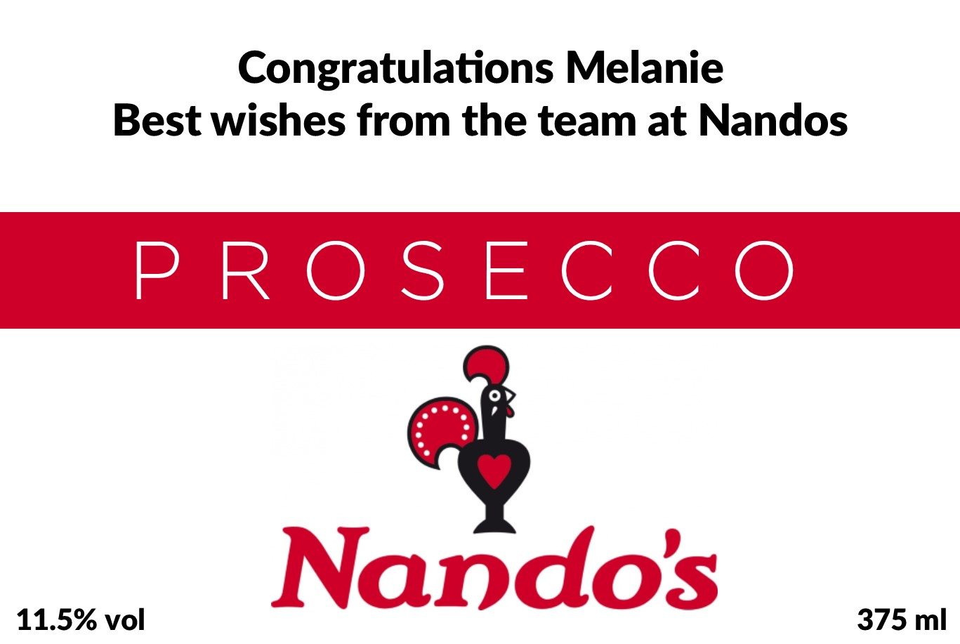 Nandos Branded Prosecco Label