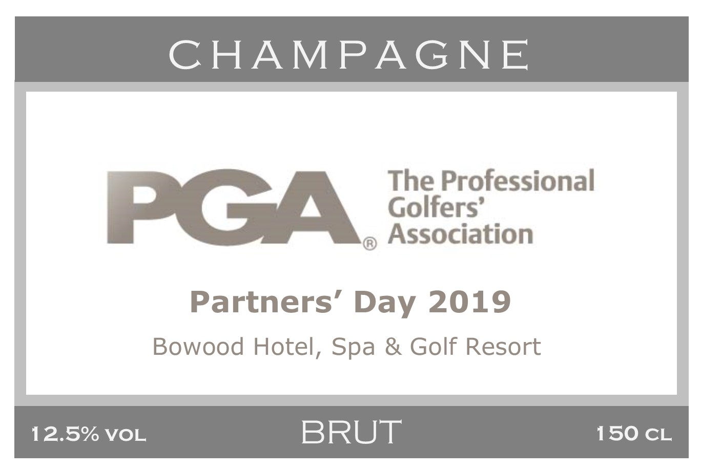 PGA Awards Branded Champagne Label