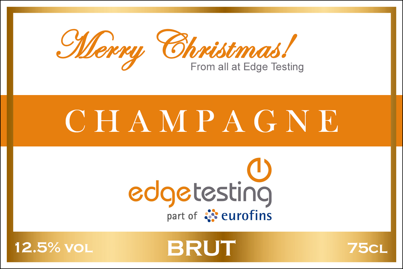 Edge Testing Branded Champagne Label