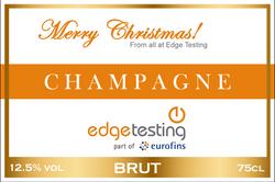 Edge Testing Branded Champagne Label
