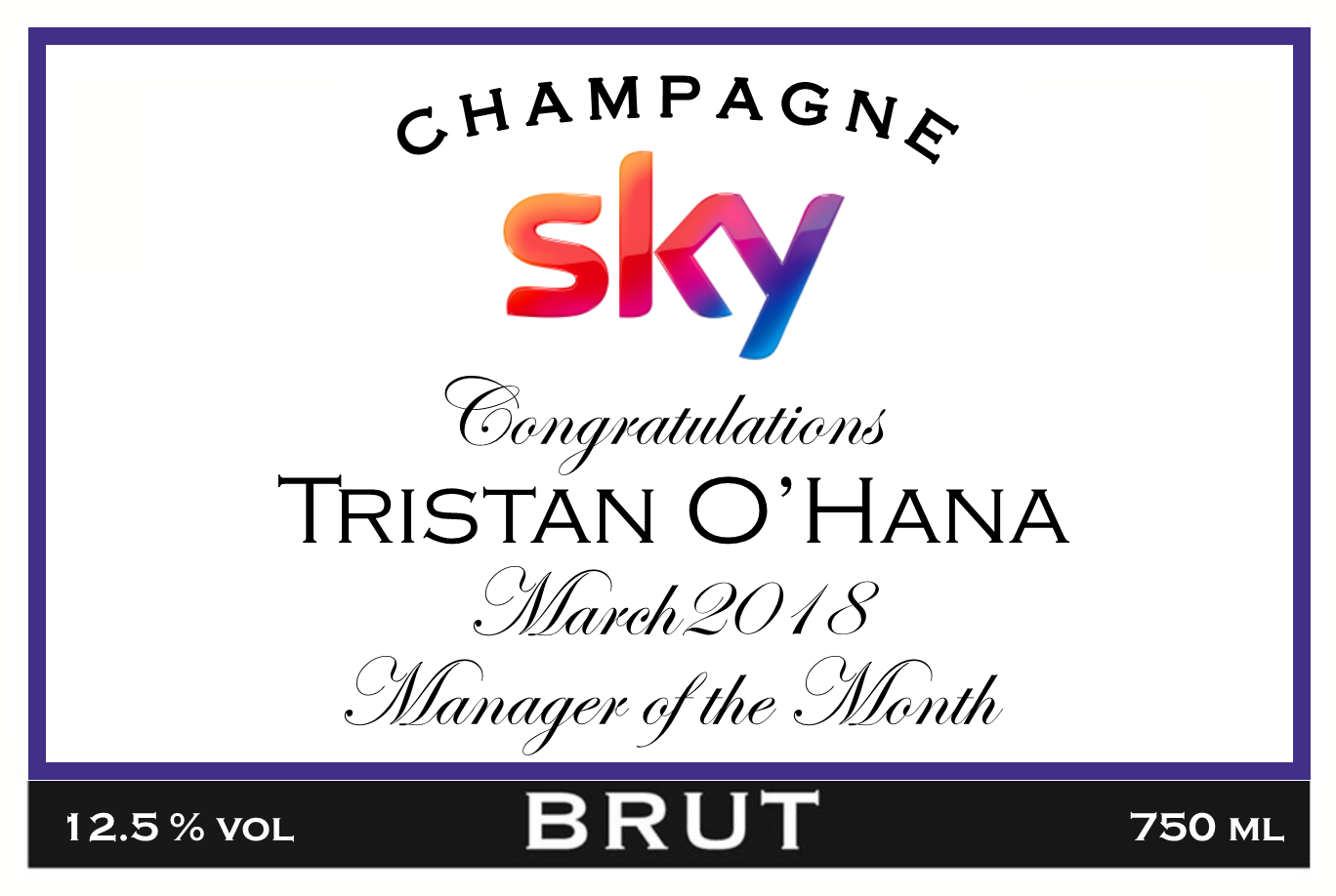 SKY Award Branded Champagne Label