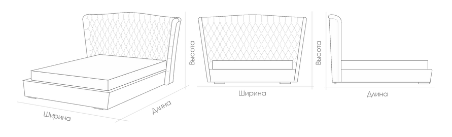 Размеры кровати Porta Vittoria Catarina Ricci