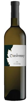 Weissweinflasche Chardonnay Komminoth, weisser Grund mit schwarz-goldenem Rebenblatt,