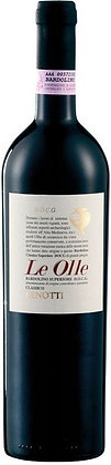 Weinflasche mit Etikette Lenotti Le Olle, beiger Grund, weisser Grund mit roter Schrift, goldenes Gefäss oben rechts,
