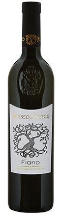 Weinflasche mit weisser Etikette Fiano masso Antico,