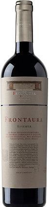 Etikette Frontaura Reserva, rote Schrift auf weissem Grund,