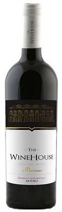 Weinflasche mit weiss-schwarzer Etikette, portugal Winehouse reserve,