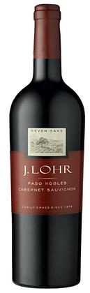 Weinflasche Rotwein J. Lohr Kalifornien, roter Grund mit weisser und goldener Schrift,