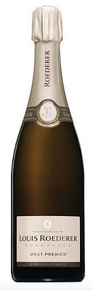 Champagnerflasche Roederer, weisser Grund, goldene Kapsel,