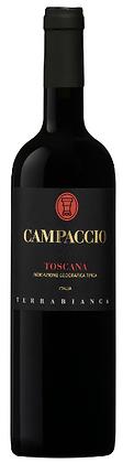 Etikette auf Rotweinflasche, schwarzer Grund mit roter und goldener Schrift, Campaccio Terrabianca,