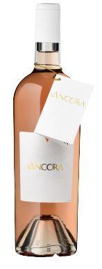 Weinflasche Ancora Rosé, weisse Etikette mit goldener Schrift,