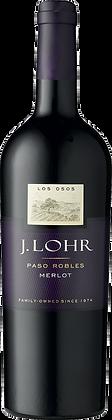 Weinflasche mit Etikette von J. Lohr Merlot Paso Robles, Frontansicht, dunkle Etikette, weisse und goldene Schrift