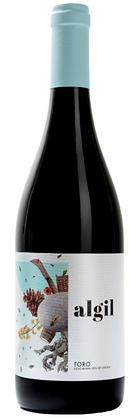 Rotweinflasche Algil Toro Spanien, weisse Etikette mit farbigen Utensilien,