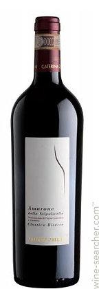Weinflasche mit weisser Etikette von Amarone,