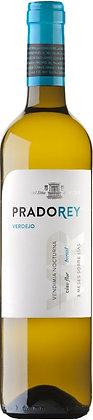 Etikette auf Weinflasche, Weisswein Prado Rey bianco, schwarz-blaue schrift, weisser Grund,