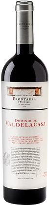 Etikette Rotwein Frontaura Toro Dominio de Valdelacasa, rote Schrift auf weissem Grund,