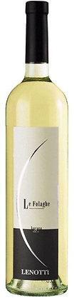Weinflasche Weisswein mit heller Etikette vom lenotti Lugana, goldene Sichel auf hellem Grund,