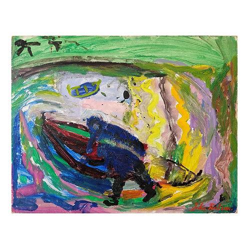 Uten tittel (grønn/lilla) - John Plausen