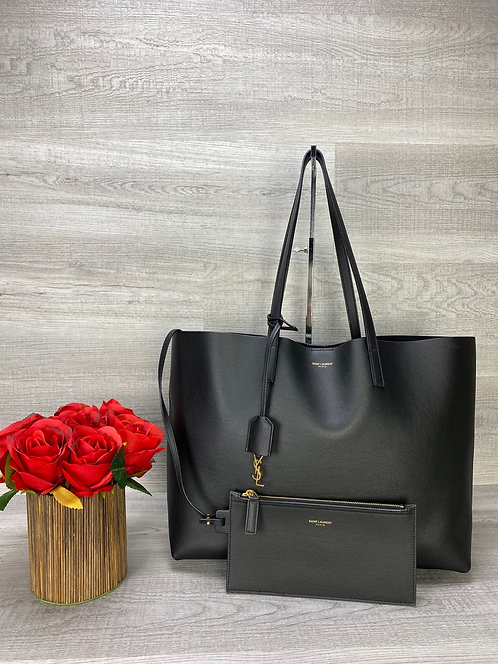 Saint Laurent Calfskin Large Shopping Tote with Pouch - DOL2080