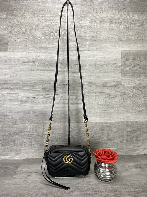 Gucci GG Marmont Black Matelasse Mini - DOL2212