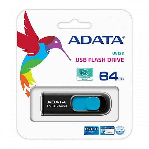 ADATA DashDrive UV128 64GB Retractable USB 3.0 Flash Drive - Black/ Blue