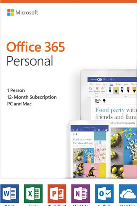 Microsoft Office 365 Personal 1 Year Subscription -Medialess Product Card 1 User