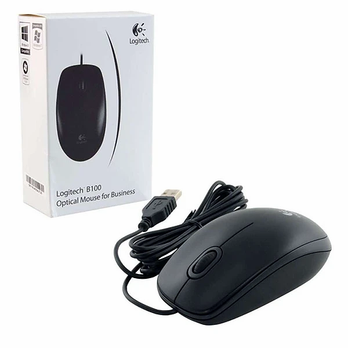 Logitech B100 Wired USB Optical Mouse (Black)