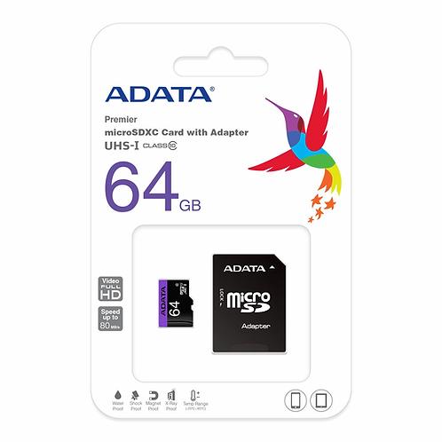 ADATA Premier 64GB microSDXC UHS-I Class 10 Flash Memory Card w/ Adapter