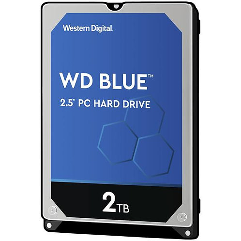 WD Blue 2TB Mobile Hard Disk Drive - 5400 RPM SATA 6 Gb/s 128MB Cache 7mm 2.5 In