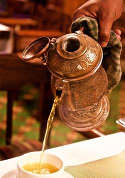saffron tea, intricate pot, Kashmir