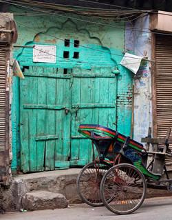 green door & rickshaw, Delhi