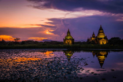 sunset temple reflections