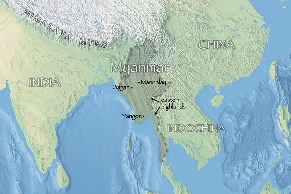 physical geography map showing Myanmar and southern Asia