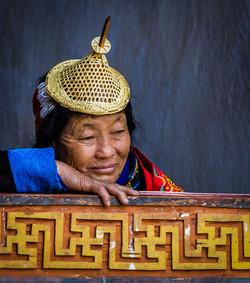 pointy-hat woman, Punakha Bhutan