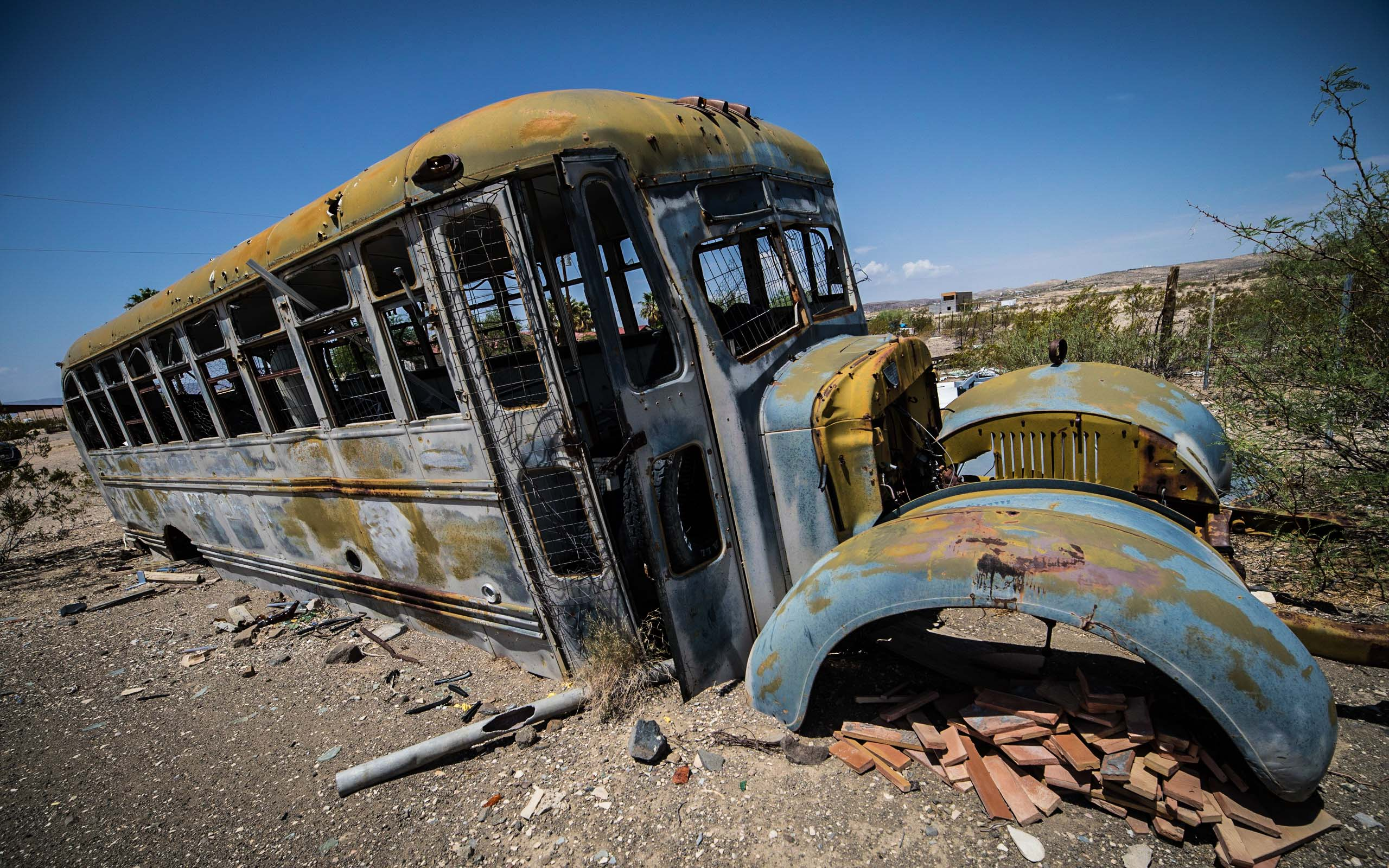 decaying school bus, Terlingua