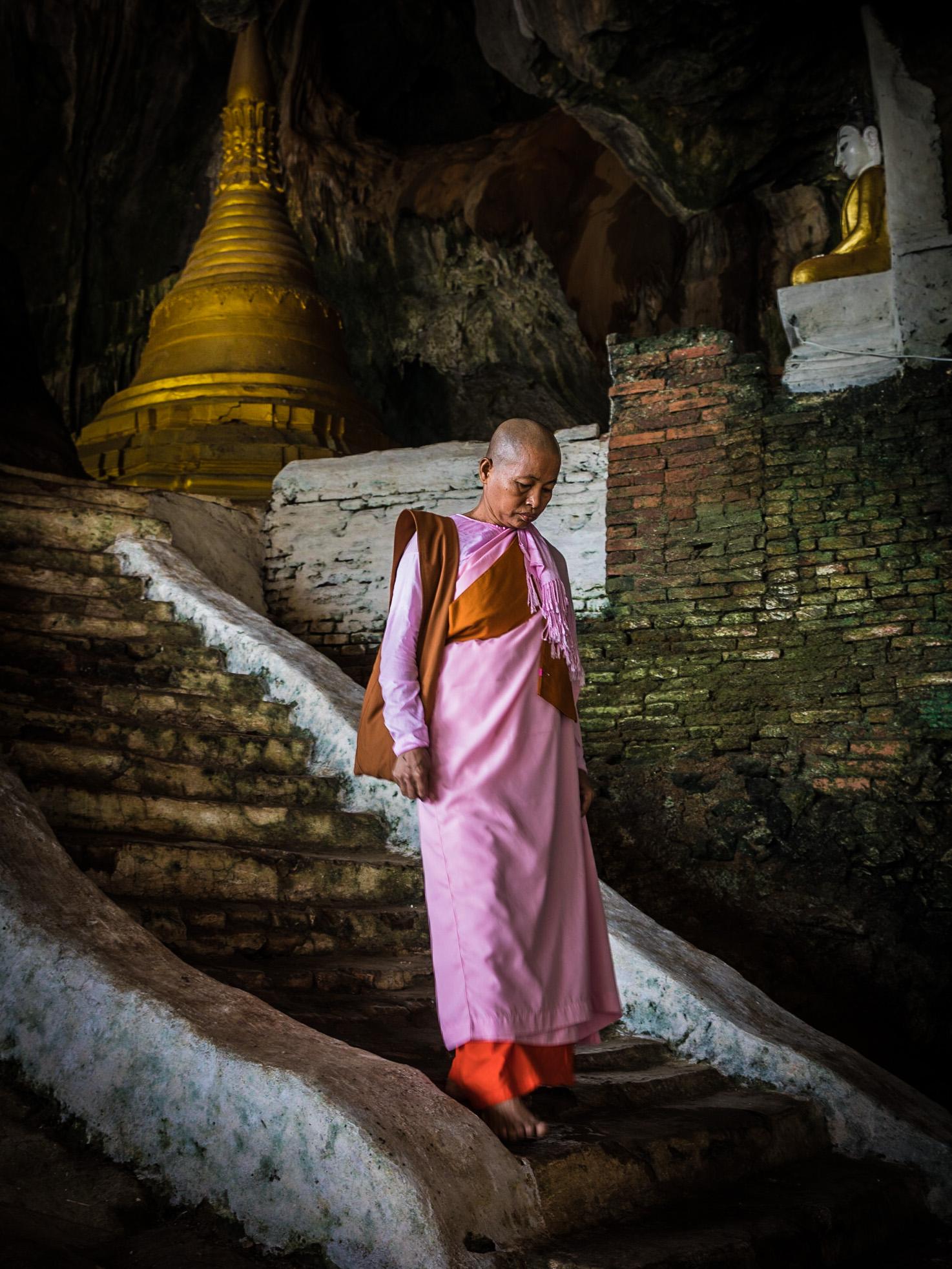 nun descending, Yathe Pyan Cave