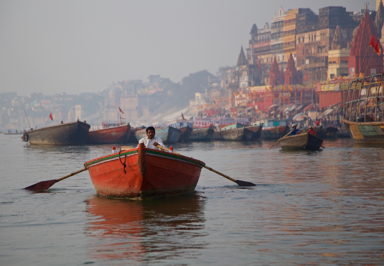 red boat at dawn