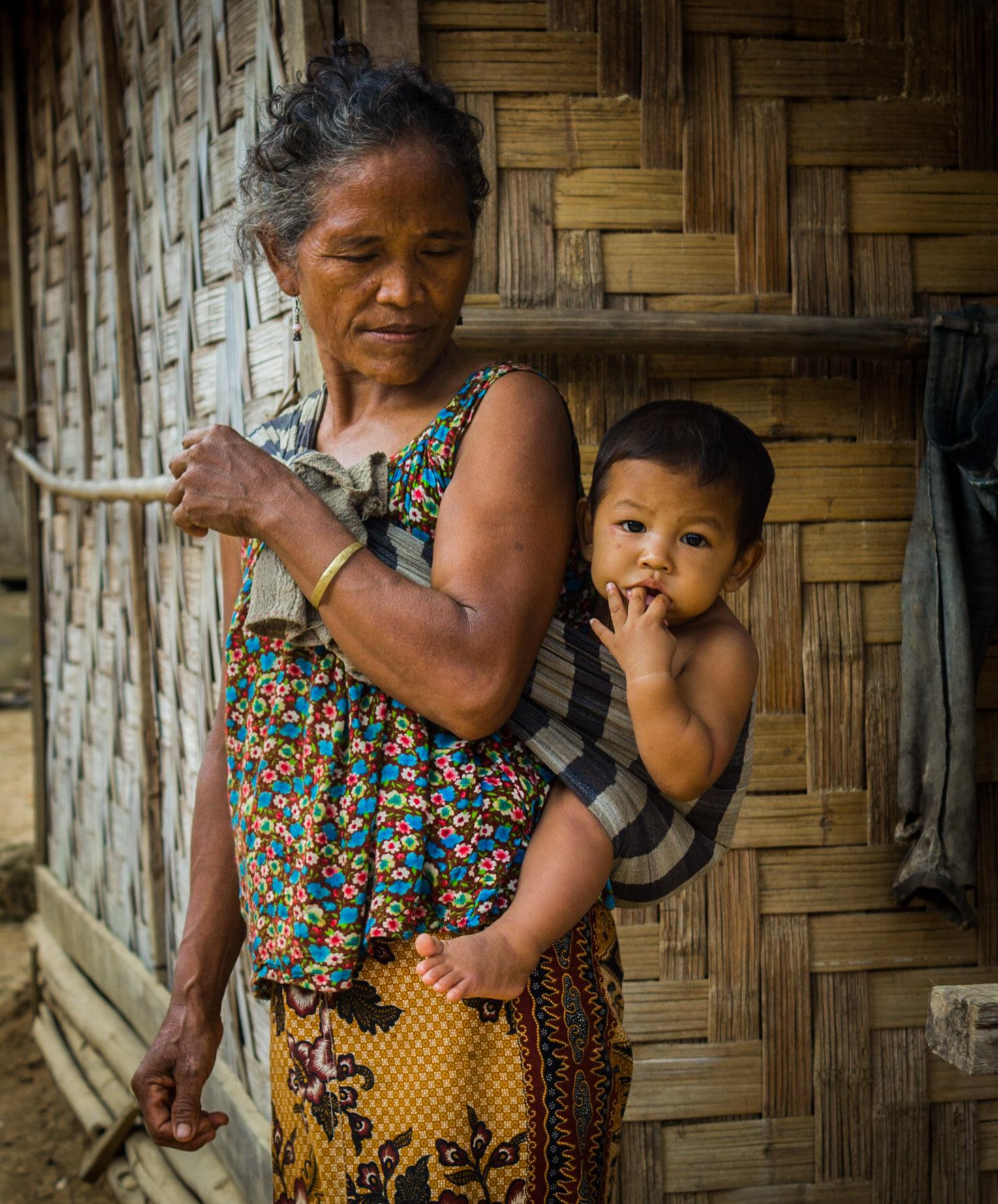 light burden, hill village Vietnam