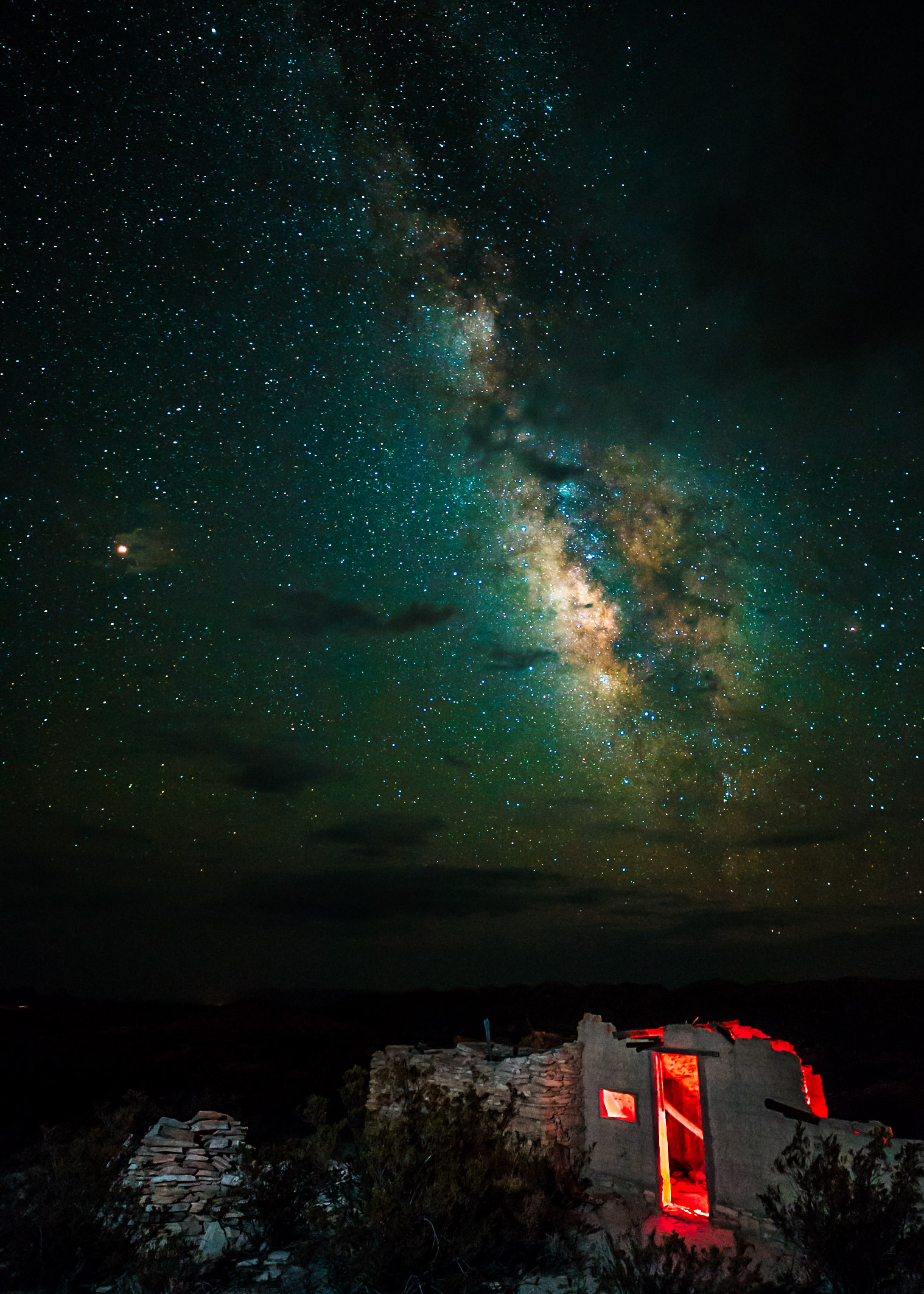 Milky Way & stone cabin