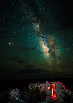 Milky Way & stone cabin